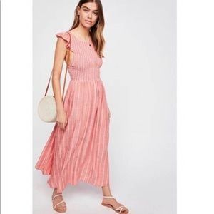 Free People NEW Butterfly Chambray Midi Dress Lg